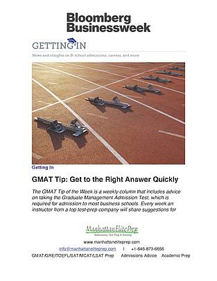 business week gmat test to get right answer from Manhattan Elite Prep