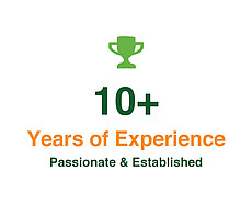 10+ years of experience. Passionate and established.